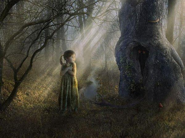 лес, девочка,