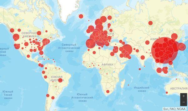 карта, коронавирус.